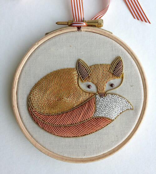 Goldwork Fox by Becky Hogg