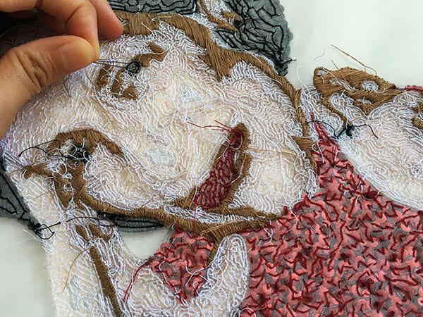 Portrait embroidery 3, in progress, by Silvia Perramon Rubio