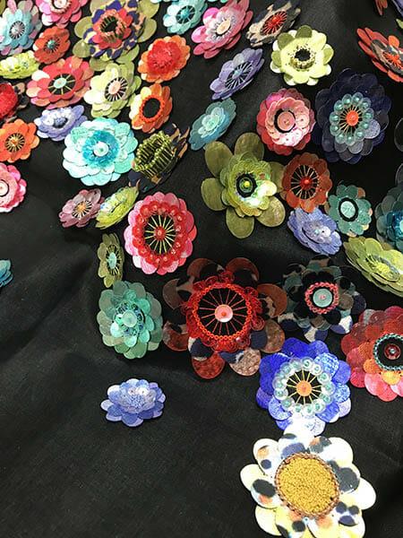 Printed sequin sample, Lisa Carroll