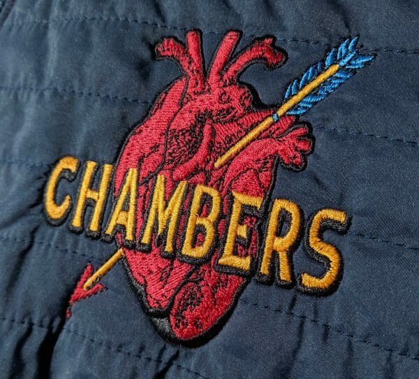 Chambers Heart Embroidered logo created in Embrilliance StitchArtist by Erich Campbell
