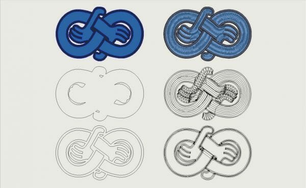 Viking age hand motif in vector art and previewed embroidery file