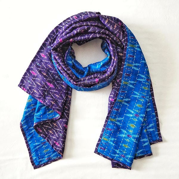 Kantha upcycle silk scarf, by Mandish Kalsi