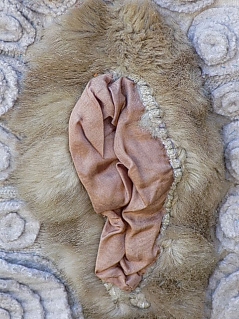 Using found objects in art: the pocket from a fur coat becomes a fabulous vagina.
