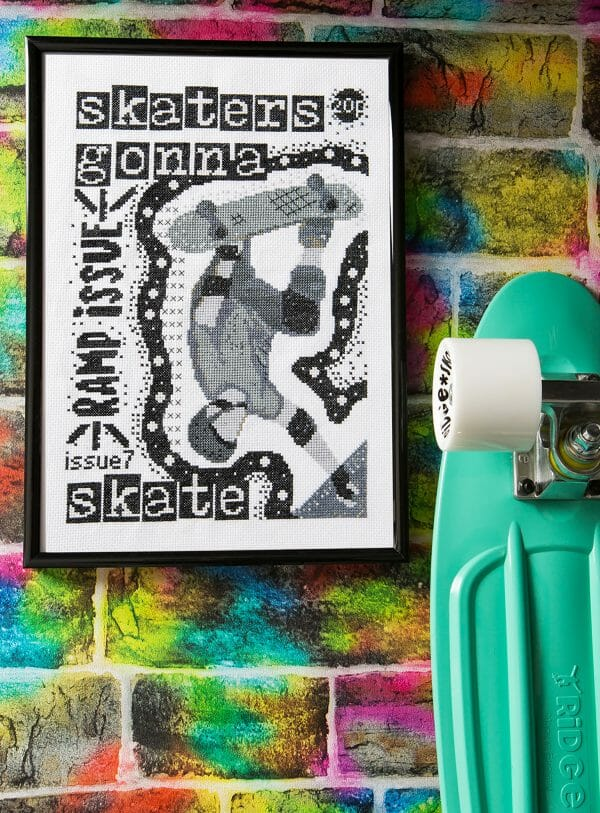 PyroDogPins Skater Zine Cross Stitch Design from Issue 6 of XStitch Magazine
