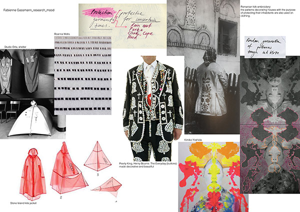 Research and mood board, by Fabienne Gassmann, third-place winner, Hand & Lock Prize for Embroidery, fashion-open category