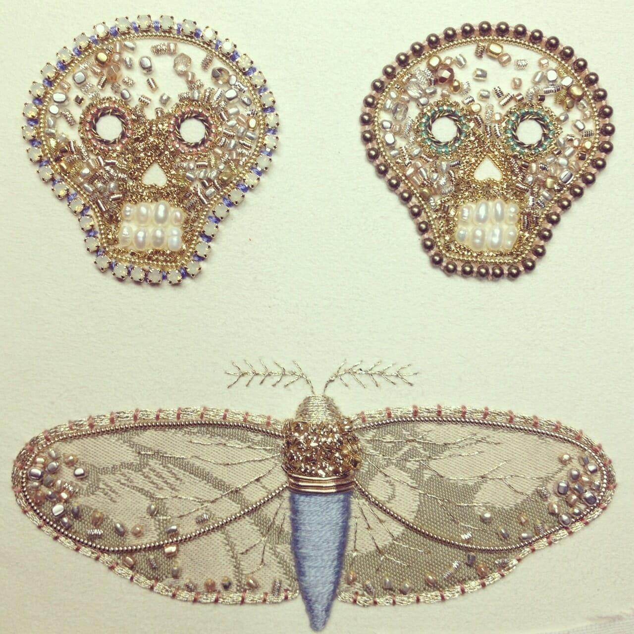 Azumi Sakata - Skulls and Moth Embroidery