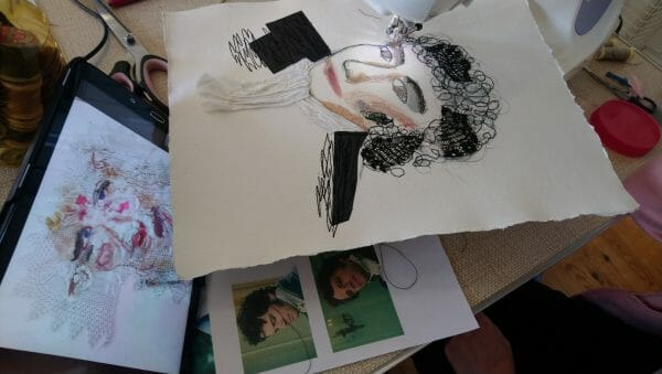 Inspiration next to the work in progress, this time it is Colin Firth as Mr Darcey!