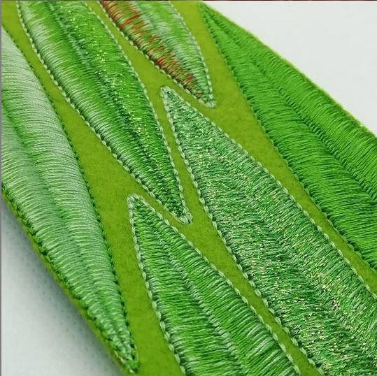 Digital leaf embroidery by Jessie Dickinson