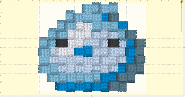 3D Digitial Preview of the Pixel-Art Machine Embroidery design file, showing that the edges of the blue slime character look wildly uneven due to compensation for stresses in embroidery.