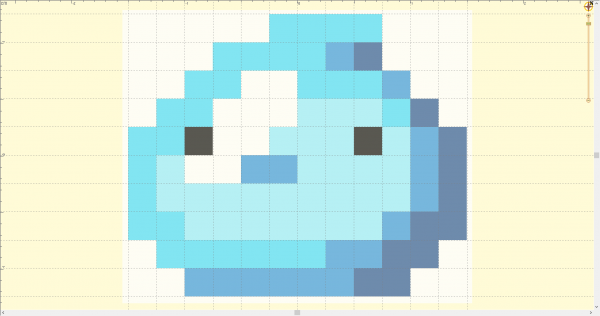 Pixel slime art imported into Embrilliance StitchArtist 3 and sized before digitizing for embroidery