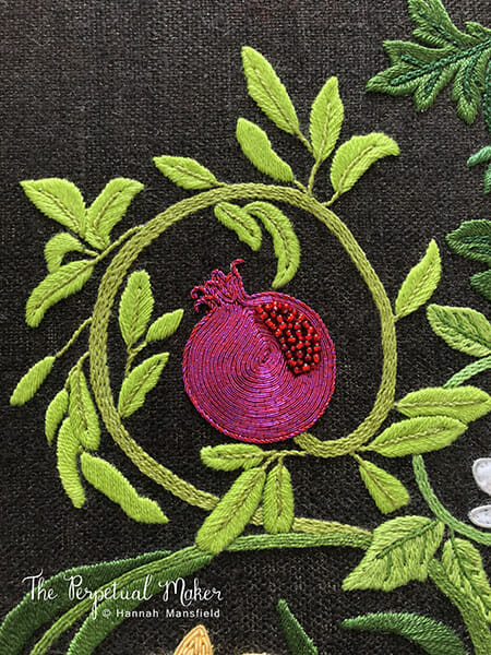 Pomegranate Embroidery detail, Hannah Mansfield