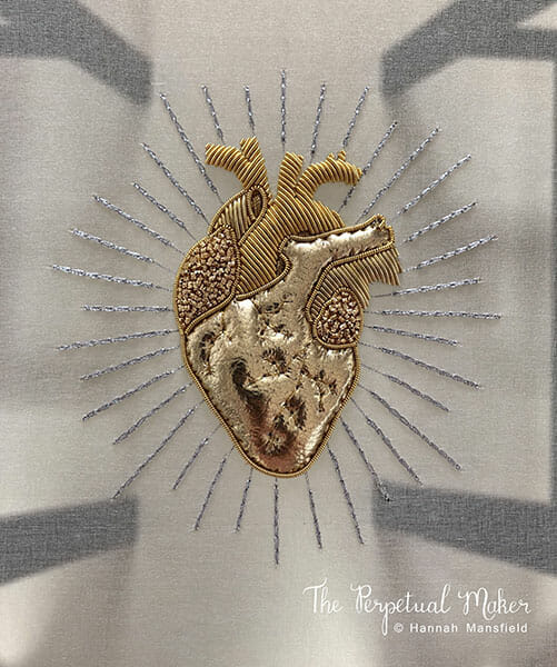 Goldwork heart embroidery, by Hannah Mansfield