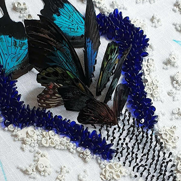 Biophilia wing and bead detail, Inge Tiemens, Hand & Lock Prize for Embroidery winner