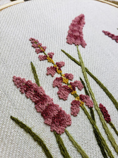 Larkspur closeup, Sheila Ramsay, First-place winner, Hand & Lock Prize for Embroidery, Fashion Open Category
