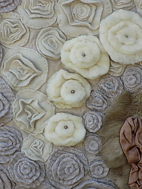 ABSTRACT FLOWER DESIGN IN TEXTILE ART - LAYERING WOOL