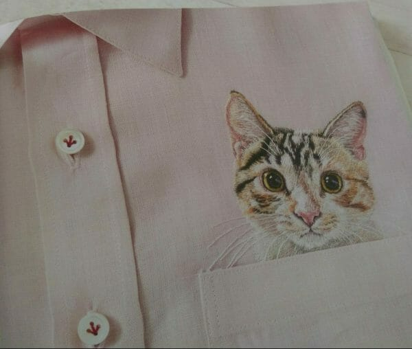 embroidery cat in my pocket