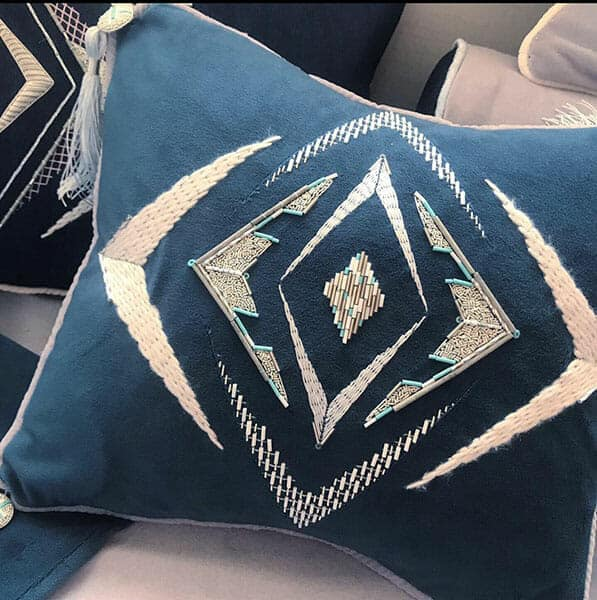 Cushion detail by Frances Stone, Hand & Lock Prize for Embroidery, The Worshipful Company of Gold & Silver Wyre Drawer Award Winner