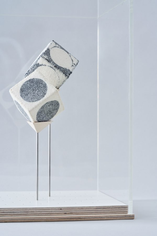 Richard McVetis - TWO CUBES 5 x 5 x 5 cm each wool cotton_hand embroidery