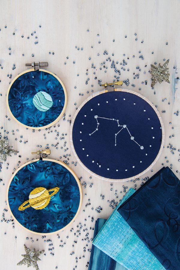 Aimee Ray shows us how to embroider Space in her book Doodle Stitching