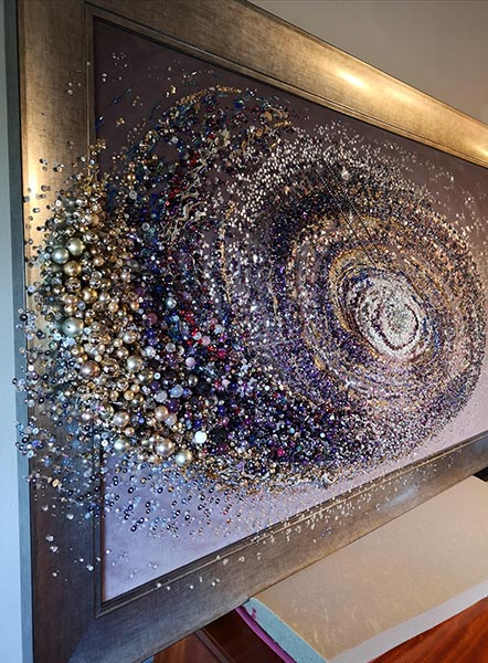 Andromeda textile closeup 3, by Samantha Trevis, Hand & Lock Prize for Embroidery, second place, Open Textile Art category