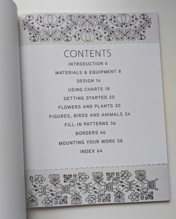 Contents Page for Beginner's Guide to Blackwork by Lesley Wilkins