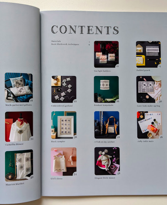 Contents page with key hole photos for Blackwork Embroidery by Bernadette Baldelli