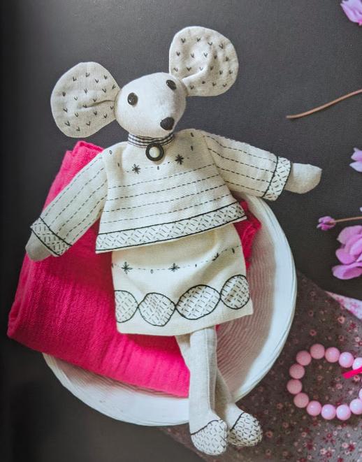 Mouse illustrated in Blackwork Embroidery by Bernadette Baldelli