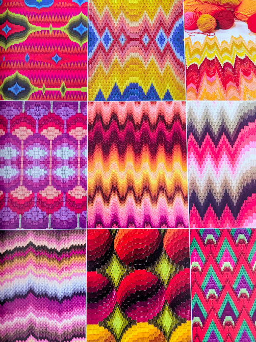 Colourful images of the method.  Bargello Stitch: A Pattern Directory for Dramatic Needlepoint by Laura and Lynsey Angell