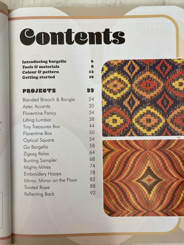the contents page for Modern bargello by Tina Francis