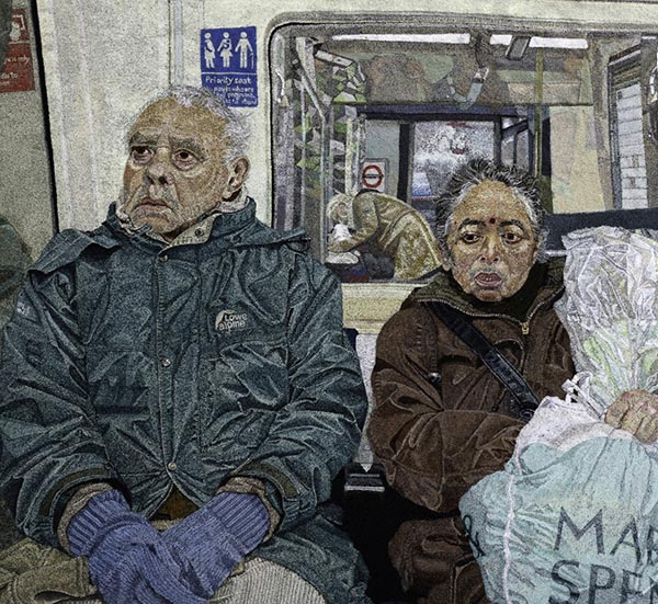 """A Couple on the Tube,"" by Julie Heaton, Hand & Lock Prize for Embroidery, 3rd place winner, Open Textile Art category."