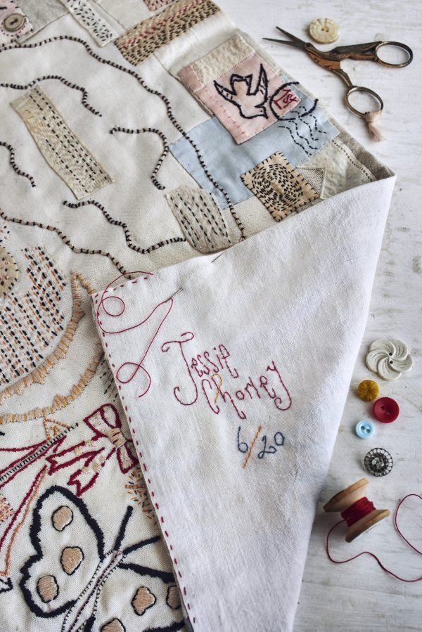 Jessie Chorely signature on cloth sampler